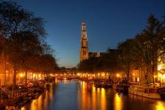 Canale di Prinsengracht a Amsterdam, Paesi Bassi fotografie stock libere da diritti