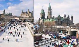 Canale di Rideau, il Parlamento del Canada nell'inverno fotografia stock libera da diritti