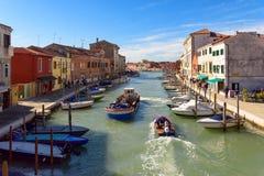 Canale di San Donato, Murano-eiland, Veneto, Italië stock foto's