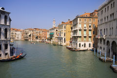 Canale grande. In touristic venice from bridge, italy royalty free stock images