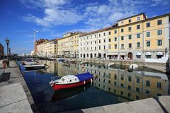 Canale Grande in the city quarter Borgo Teresiano in the centre of Trieste, Italy. Canale Grande in the city quarter Borgo Teresiano in the centre of Trieste stock image