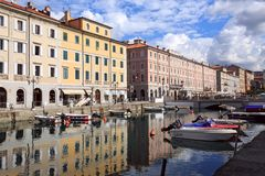 Canale Grande in the city quarter Borgo Teresiano in the centre of Trieste, Italy. Canale Grande in the city quarter Borgo Teresiano in the centre of Trieste royalty free stock image