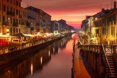 Canale grande di Naviglio a Milano, Lombardia, Italia Fotografia Stock Libera da Diritti