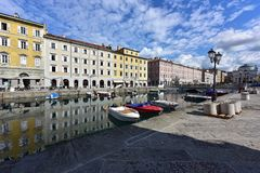 Canale Grande in the historical downtown of Trieste, Italy. Canale Grande in the city quarter Borgo Teresiano in the historical downtown of Trieste. Trieste royalty free stock image