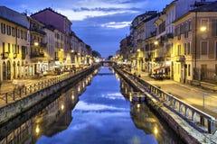 Canale grande nella sera, Milano di Naviglio Fotografia Stock Libera da Diritti