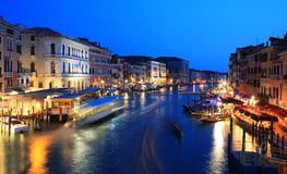 Canale Grande at night, Venice. Italy royalty free stock photos