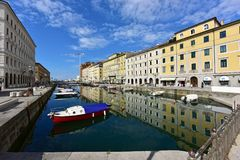 Canale Grande. Trieste, Italy. Canale Grande in the city quarter Borgo Teresiano in the historical downtown of Trieste. Trieste, region Friuli-Venezia Giulia royalty free stock photo