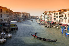 Canale Grande in Venecia. With gondola in summer stock image