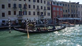 Canale Grande in Venice. Boat on Canale Grande stock images