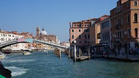 Canale Grande in Venice. Bridge on Canale Grande stock images