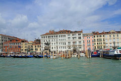 Canale Grande in Venice. Gondolas, boats and colourful houses seen from Canale Grande in Venice stock photos