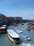 Canale Grande, Venice, Italy. Ships and boats on the Canale Grande seen from the Rialto Bridge, Venice, Italy royalty free stock photography
