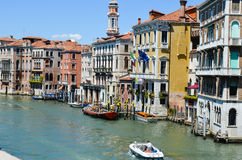 Canale Grande ,Venice Italy. Canale grande with gondols and colorful buildings in Venice , Italy royalty free stock photos