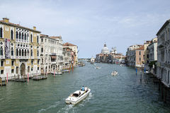 Canale Grande in Venice. View on Canale Grande from one of the bridges in Venice during sunny day stock photo