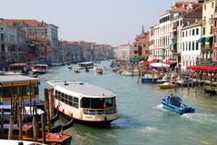 Canale grande in venice. View from rialto bridge over canale grande royalty free stock photo