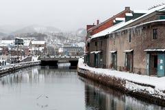 Canale in inverno, Hokkaido, Giappone di Otaru Fotografie Stock Libere da Diritti