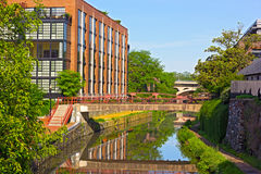 Canale lungo la banca del nord del fiume Potomac a Georgetown, Washington DC Fotografie Stock