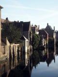Canale medievale Bruges storica Belgio Europa delle case Fotografia Stock Libera da Diritti