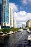Canale navigabile del centro del Fort Lauderdale fotografia stock libera da diritti