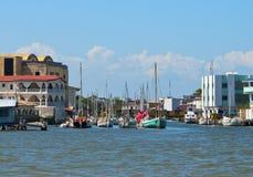 Canale navigabile della città di Belize, Belize Fotografie Stock