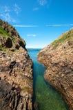 Canale navigabile naturale a Cudillero, Asturie, Spagna Immagine Stock Libera da Diritti