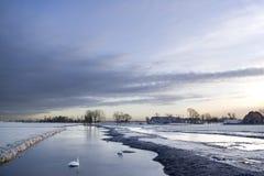 Canale olandese congelato Fotografia Stock