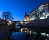 Canale Ottawa, Ontario, Canada di Rideau di notte Fotografie Stock