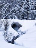 Canale sotterraneo e flusso in inverno Immagini Stock Libere da Diritti