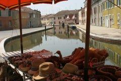 Canale tranquillo in Comacchio Immagine Stock Libera da Diritti