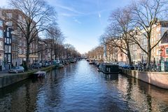 Canales de Amsterdam imagen de archivo