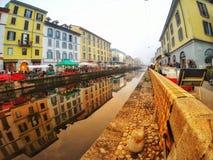 CANALES DE NAVIGLI, MILÁN, ITALIA fotos de archivo