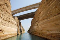 Canaleta de Corinth em Greece foto de stock