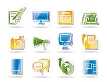 Canaletas de comunicação e ícones sociais dos media Fotos de Stock