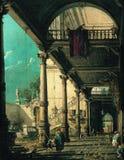 Canaletto - Capriccio med kolonnaden i inre av en slott, 1765 arkivfoto