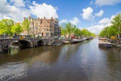 Canali della capitale di Amsterdam dei Paesi Bassi Immagine Stock Libera da Diritti