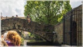 Canali di Bruges, Belgio Immagine Stock Libera da Diritti
