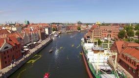 Canali di Danzica, vista superiore video d archivio