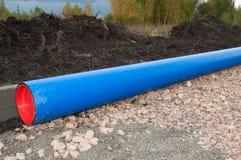Canalisation de l'eau bleue Photos libres de droits