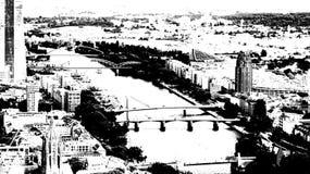Canalisation de rivière dans la ville de Francfort Photo stock