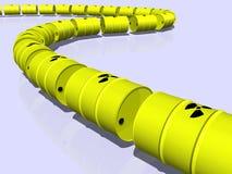 Canalisation ou train effectué à partir des barils nucléaires Photo libre de droits