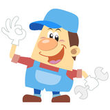 Canalizador dos desenhos animados com fundo branco Imagem de Stock