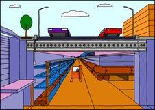 Canalizzazione di un corso d'acqua sotterranea moderna illustrazione di stock
