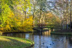 Canals of Amstelveen, autumn time. Canals of Amstelveen, the Netherlands, autumn time Royalty Free Stock Photo