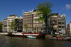 Canals in Amsterdam. Picture of a big canal in Amsterdam, Holland stock photo