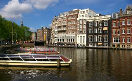 Canals in Amsterdam. Picture of a big canal in Amsterdam, Holland stock images