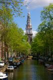 Canals in Amsterdam. Picture of a big canal in Amsterdam, Holland royalty free stock photo