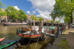 Canals of Amsterdam, capital city of the Netherlands royalty free stock image