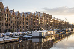 Canals of Amsterdam early morning on a day with snow Royalty Free Stock Photo