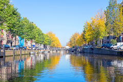 The canals from Amsterdam in Netherlands in fall Stock Image