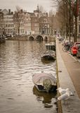 Canals in Amsterdam Netherlands. March 2015. Portrait format royalty free stock images